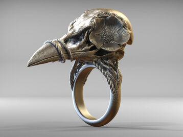 Bird Skull Ring With Flower