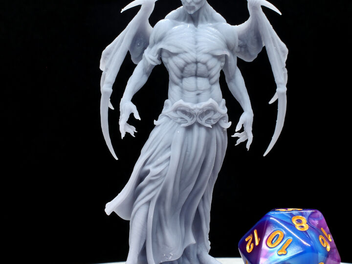Vampire Miniature, Large Size DnD Monster, Great for Tabletop Games. High Quality, Durable 3D Resin Print, 75mm tall