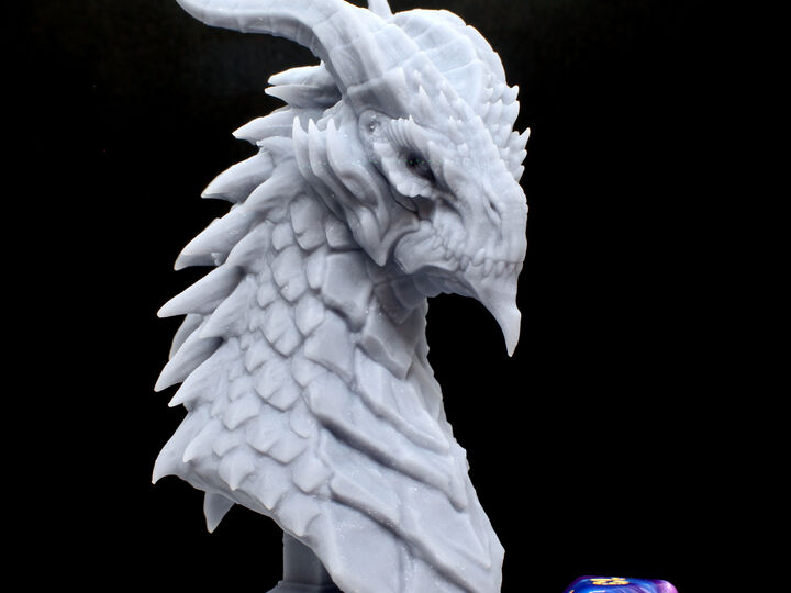 Fantasy Dragon Bust. High Quality 3D Resin Print. Lots of detail, beautiful display piece!