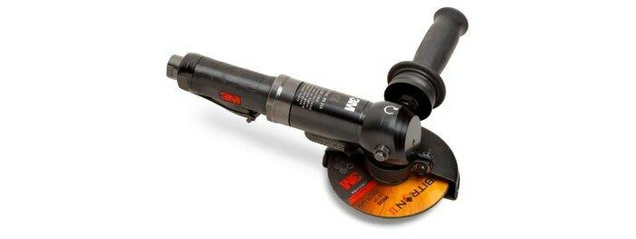 3M 28826 RIGHT ANGLE CUT-OFF WHEEL TOOL - PNEUMATIC - 1.5 HP - 4 1/2 IN AND 5 IN DIAMETER - 12,000 RPM - 11 IN LENGTH