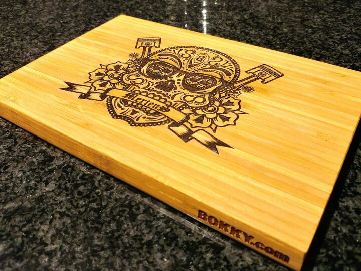Laser engraved bamboo cutting board with custom design, size: small