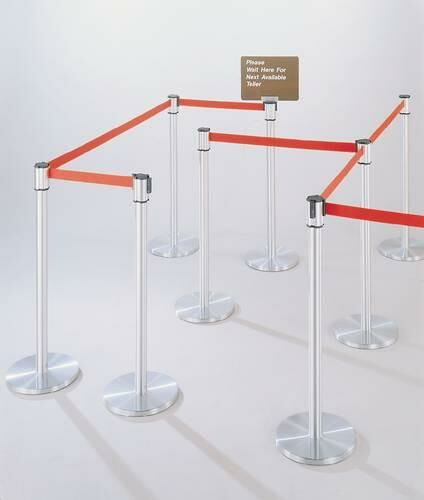 Extenda-Barrier Crowd Control System, Post, Satin Aluminum Finish, 12' L Strap