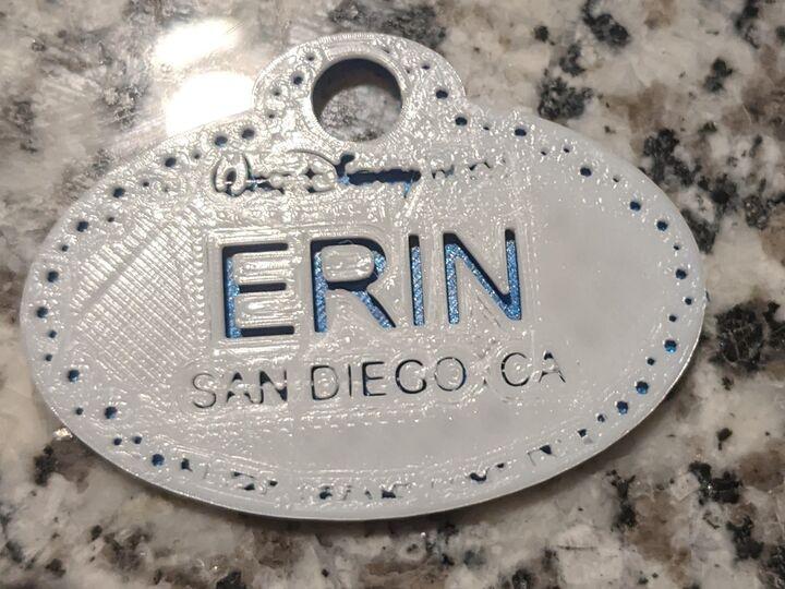 Disney Name Tag Keychain
