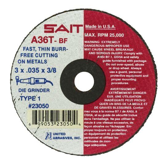 "Sait 23050 A36T 3"" x .035"" x 3/8"" Type 1 Cutting Wheel"