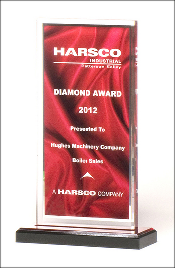 Clear acrylic award with deep red draped satin pattern and silver mirror border on a black acrylic base with red mirror top.