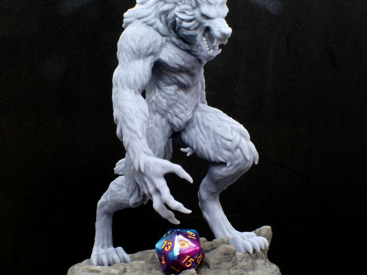 6 inch or 16cm tall Werewolf, High Quality 3D Resin Print. Lots of detail; Beautiful Sculpture! 1:12 Scale