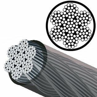 "3/16"" - 7x19 Black Nylon Coated Galvanized Steel Wire Rope (MIL-DTL 83420) - 1/4â"" Jacket OD"
