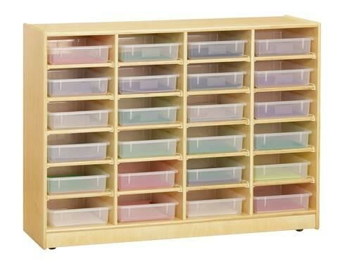 24 Paper-Tray Mobile Storage, Clear Trays, Baltic Birch Finish, Earth Friendly