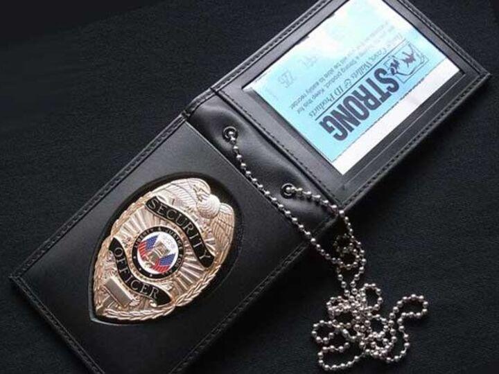 100% Genuine Leather Badge Holder Wallet, I D Card Holder, Neck Leather Wallet