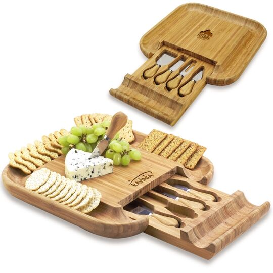 Bamboo Cheese Board with Knife Set in a Hidden Drawer