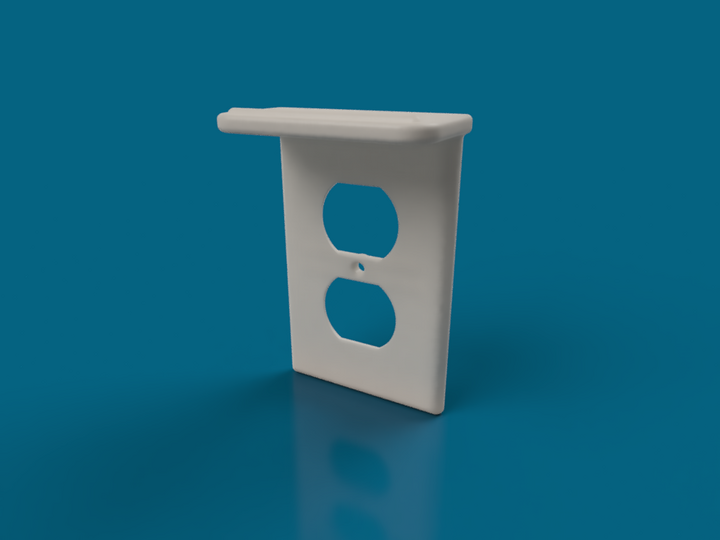 2 Outlet Cover Plate With Shelf and Reinforced Screw Mount