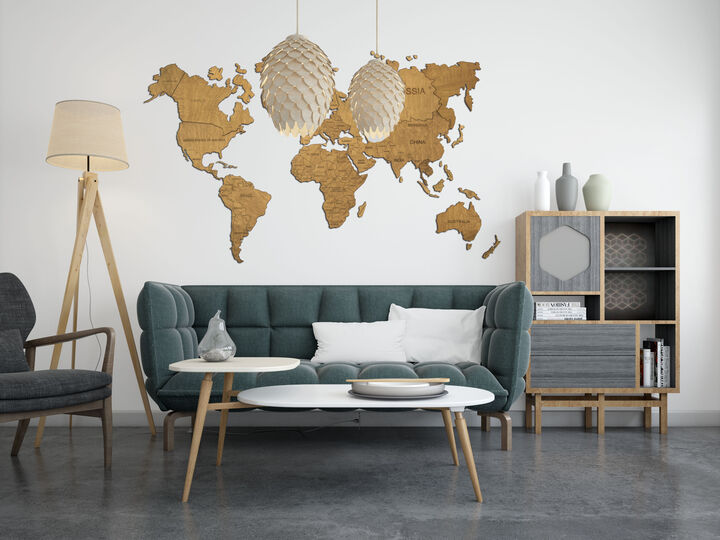 Wood world map wall decor
