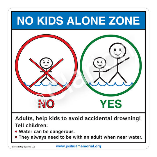 No Kids Alone Zone Sign