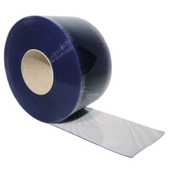 Clear/blue PVC door strip 1' x 165'