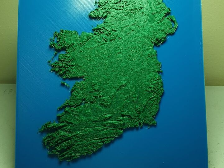 3D Map of Ireland - FREE SHIPPING (Two colour version)