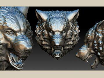 Stylized wolf head 0190