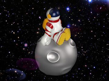 Astronaut sitting on an asteroid 0187