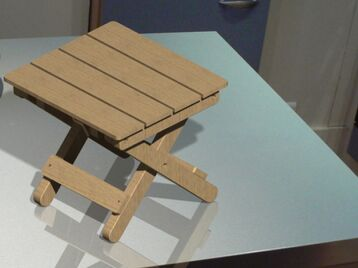 Portable wood folding stool